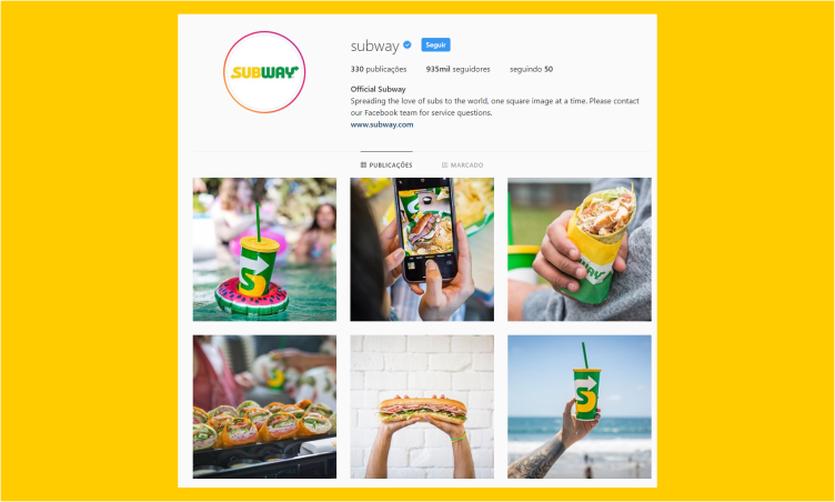 Instagram do Subway