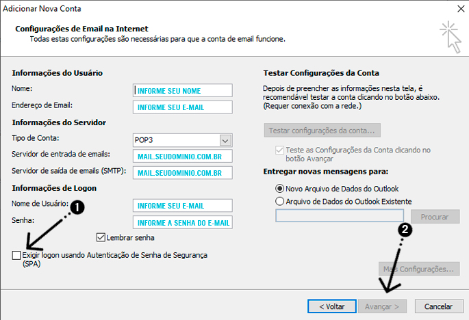 como configurar o outlook 005